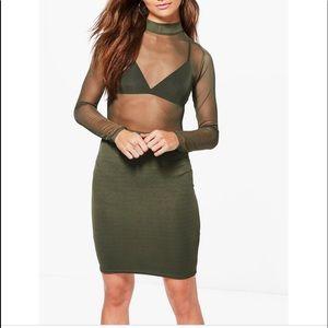 Boohoo y'all Gisele mesh top mid Bodycon dress